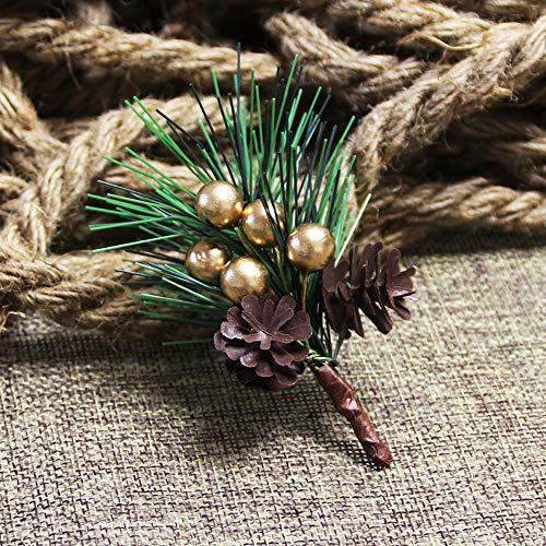 LONGYING 5 piezas mini ramas de pino artificial cono flor árbol de Navidad accesorios Berry fotos flor pequeño adorno de Navidad accesorio