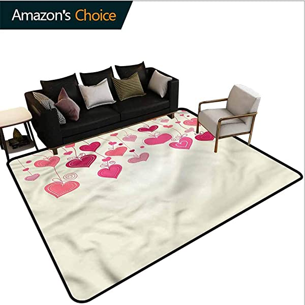 TableCoversHome Love Geometric Floor Comfort Mats Feminine Hand Drawn Hearts Pattern Printing Rugs Easy Maintenance Area Rug Living Room Bedroom Carpet 2 5 X 9