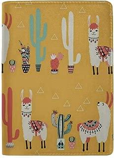 Passport Holder Orange Alpaca Cactus Passport Cover Case Wallet Card Storage Organizer for Men Women Kids 5.5 inch