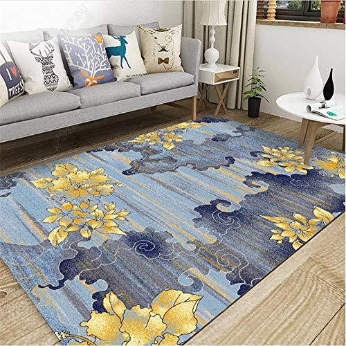 Alfombra alfombras para bebé Alfombra Floral de Tinta Azul y Gris Sala de Estar Antideslizante y Resistente a la decoloración Alfombra Infantil Juvenil alfombras de Salon 60*160cm