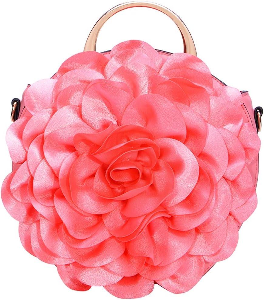 HQQ Sac à Main Femme Fleur épaule Diagonale Sac à Main Design Rond Dentelle (Color : Light Pink) Rose Pink