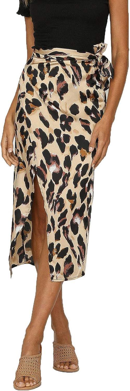 Petitdelphine Womens Casual Summer Skirts Leopard Bowknot High Slit A-Line Beach Maxi Skirt
