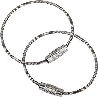 Uniclife 20 stuks draad sleutelhanger kabel roestvrij staal sleutelhanger lus voor outdoor wandelen