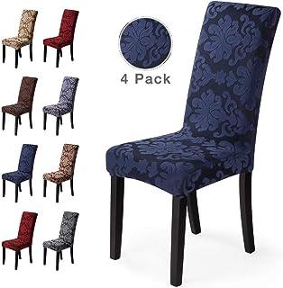 Fundas para sillas 4 Piezas Funda de Silla Comedor Stretch Cubiertas para sillas Extraíble Lavable Cubierta de Asiento Fundas sillas Duradera Modern Boda Decor Restaurante(4 Piezas,Jacquard-Azul)