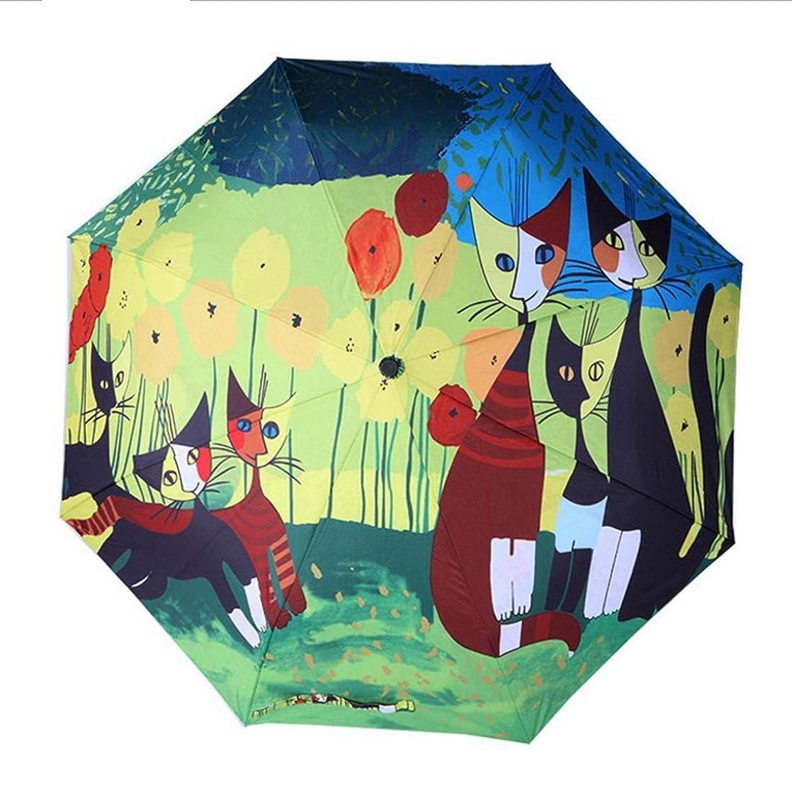 スキル歩行者悲しい小さな新鮮なパラソル/ 3つ折りの猫の傘/日焼け止め創造的な太陽の傘 KAKACITY (色 : イエロー)
