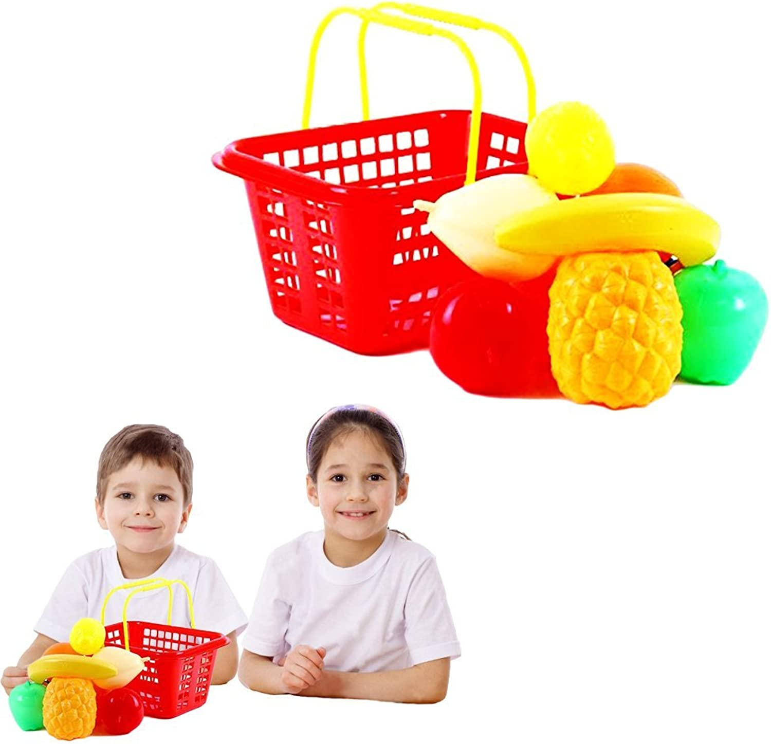 Toy Cubby Pretend Play Party Toy Kid's Shopping Fruit Basket with Fruits Set  9 pieces fruit by Toy Cubby