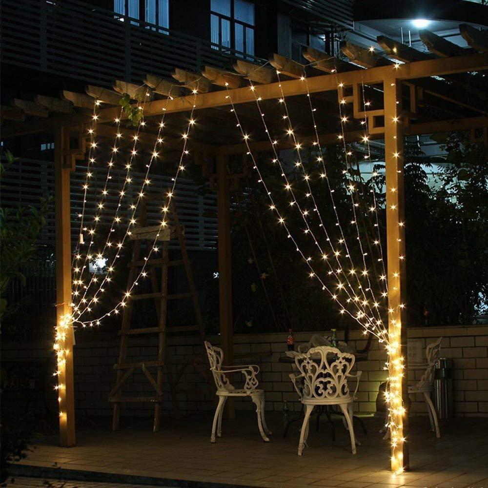 Solares cortina la secuencia las luces LED 300 secuencia la ventana Luces, 9.8 x 9.8 pies, decorativos interior al aire libre Luces del centelleo para el dormitorio, contexto boda, Patio y Más,Blanco: