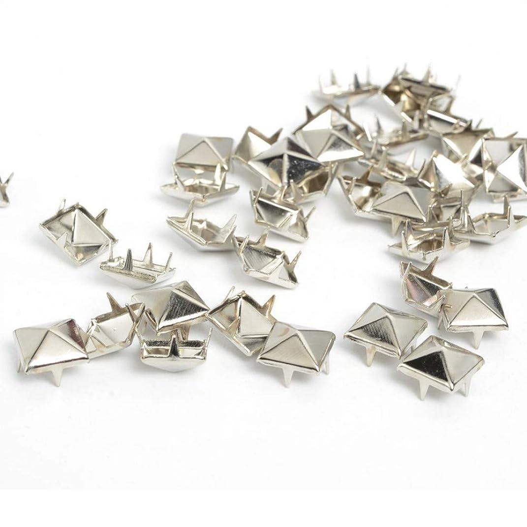 RuiLing 100pcs 10x10mm Pyramid Spike Nailheads 4 Prong Leathercraft Punk Rock Rivet Studs for Bracelets Clothes Bags Shoes Belt DIY Decoration Silver