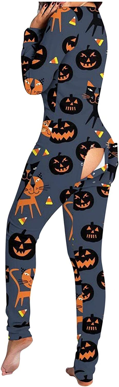 Gibobby Pajamas for Women Sleepwear Long Sleeve Button-Down Halloween Print Functional Buttoned Flap Jumpsuit V Neck PJ Sets