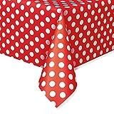 Unique Party- Dots Plastic Tablecover Tovaglia Plastificata, Colore Rosso (Red), Confezione da 1, 50262