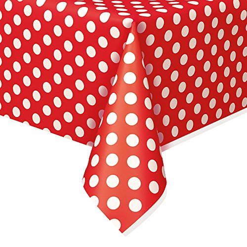 Unique Party 50262 - Tovaglia Plastificata Con Pois Rossi, 1,37 M X 2,74 M