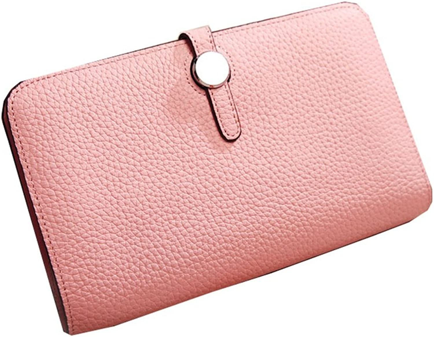 Sturdy Fashian Leather Contracted Joker Unisex Wallet High-Capacity Card Handbag Hand Handbag Can Put A Mobile Phone Women Men Lady Large Capacity (color   Pink)