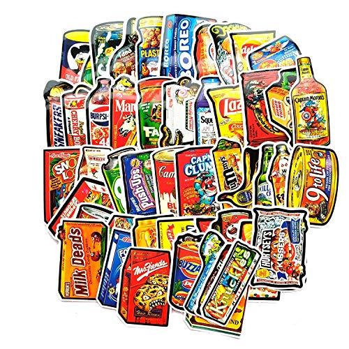 HENJIA Parodie Lebensmittelpaket Aufkleber für Skateboard Laptop Gepäck Kühlschrank Telefon Aufkleber Aufkleber Kinderspielzeug 50St
