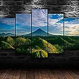 BTCA Lienzo Giclée de Pared Art Imagen para decoración del hogar Paisaje de montañas Verdes colinas Panel de 5 Piezas de Arte Moderno. Ideal para Decorar el salón