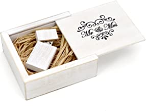 Antique Maple 16GB USB Flash Drive - Stained in Wedding White - Inserted into a Printed Matching Maple Stained Box with Raffia grass inside. MR & MRS Elegance Design!