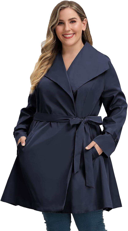 Women's Plus Size Lapel Trench Coat Belted Lightweight Long Outerwear Jacket