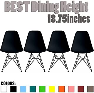 2xhome Set of 4 Black Mid Century Modern Design Industrial Plastic Chair Side No Arms Dark Black Wire Chrome Base with Back Eiffel Molded Shell Dining Chairs Living Room Accent Work Desk DSW Bedroom