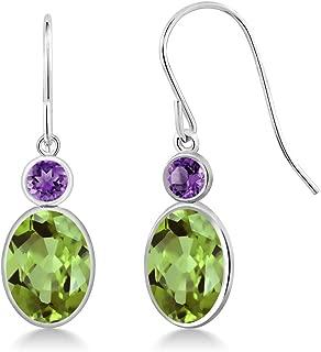 2.86 Ct Oval Green Peridot and Purple Amethyst 14K White Gold Women's Earrings