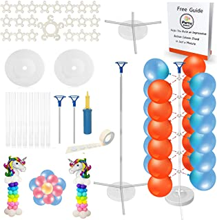 Party Zealot 2 Set Balloon Column Kit 5 Feet Tall Stand Sturdy Tripod Balloon Column Base and Pole with Balloon Rings for Birthday, Baby Shower, Graduation Outdoor, and Indoor