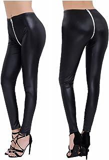 6e113b2fcce25c YiZYiF Women's Faux Leather Ankle Length Stretch Leggings Pants With Double  Zipper Crotch