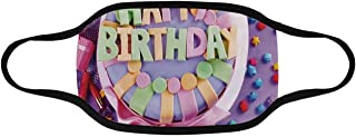 Birthday Decorations Soft Mouth Mask,Delicious Birthday Cake on Table with Stars and Presents Party Desert for Outdoor,Full Size