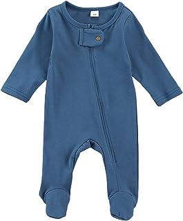 طفلة بوي رومبير الوليد طويلة الأكمام سستة بذلة ملابس الطفل الناعمة (Color : Blue, Kid Size : 3-6M)