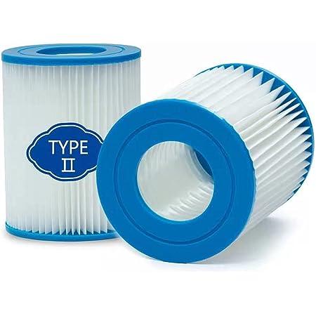 woejgo Lot de 2 filtres pour piscine Bestway type 2, cartouche pour filtre pour pompe de piscine Bestway 58094 Cartouche filtre Flowclear type II Capacité : 2006/3028 l/h.