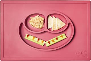 ezpz Happy Mat (Coral) - 100% Silicone Suction Plate with Built-in Placemat for Toddlers + Preschoolers - Divided Plate - ...