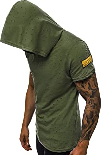 Madmext Yırtık Detaylı Haki Kapşonlu Tişört 3069
