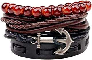 Sponsored Ad - StylEssentials Leather Bracelet Anchor Beads Multilayer Braided - Adjustable Handmade Wristband Black Brown...