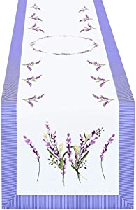 Simhomsen Embroidered Purple Floral Table Runners with Lavender Lilac Flowers on Cream-White Background (15 × 90 Inch)