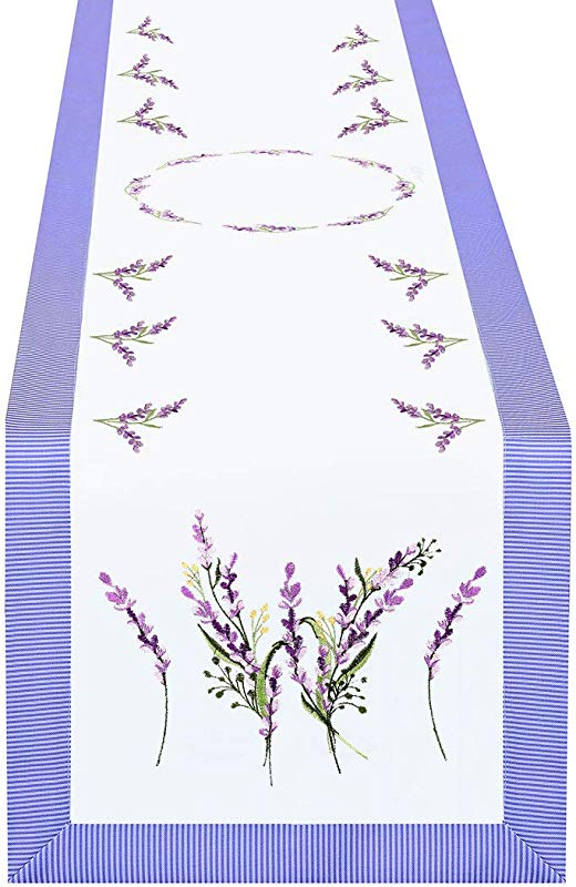 Simhomsen Embroidered Purple Floral Table Runners With Lavender Lilac Flowers On Cream White Background 15 108 Inch