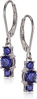 Amazon CollectionPlata de ley auténtica y lab-created Gemstone three-stone Leverback Dangle Earrings