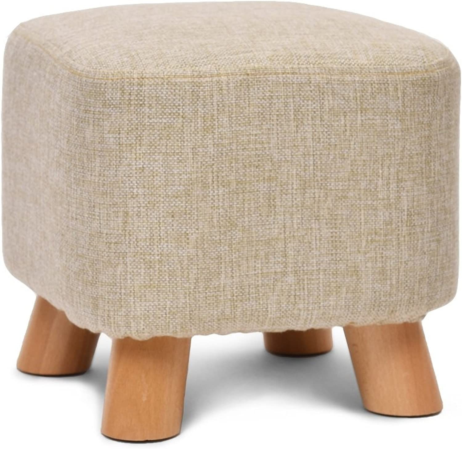 Cotton Linen Art Stool Creative Stool Solid Wood shoes Stool Bedroom Stool Fabric Stool Sofa Stool Coffee Table Bench Home Stool Leisure Stool   (28  25cm) (color   Beige)