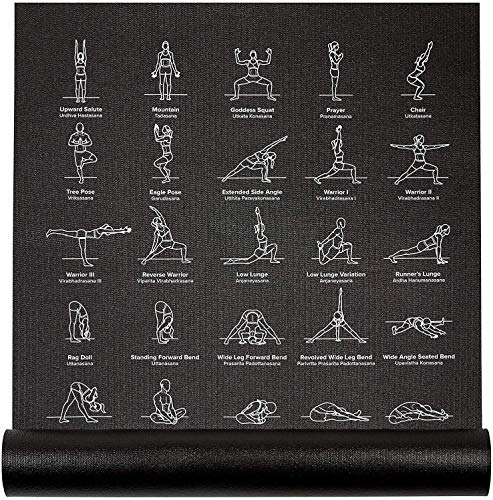 "Instructional Yoga Mat, Black - Printed w/ 70 Illustrated Poses, 24"" Wide x 68"" Long, for Women & Men : Non Slip, Eco Friendly PVC, Non Toxic : for Home or Gym : 5mm Thick NewMe Fitness"