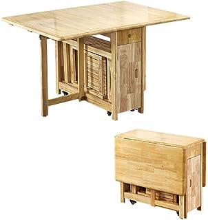 AOIWE -C 1.3m Table à Manger Pliante Goutte Goutte Papillon Meubles de Cuisine en Bois Massif Naturel Pomme Naturel c (Col...