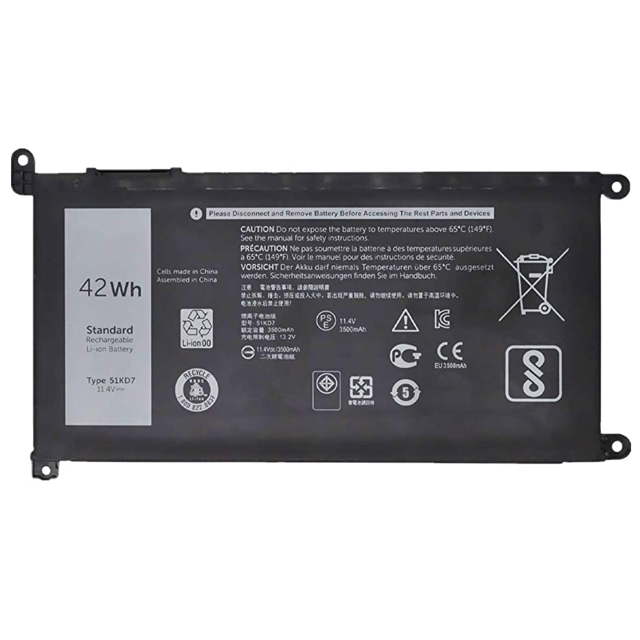 Fully 51KD7 Replacement Laptop Battery Compatible with Dell Chromebook 11 3180 3189 Series Notebook Y07HK FY8XM 0FY8XM - 11.4V 42Wh