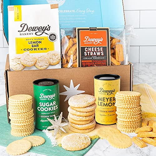 Sweet & Savory Gourmet Gift Basket by Dewey's Bakery - Moravian Cookies, Lemon Bar Soft Baked Cookies, Cheese Straws, Star Ornament, 5 Piece Gift Basket | Birthday, Mother's Day, Care Package Gifts