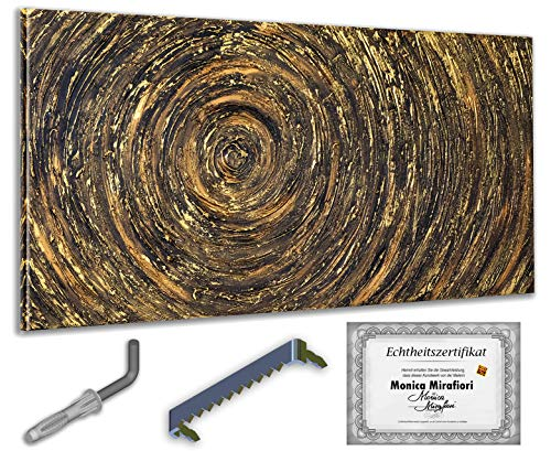 exclusive-gallery I Monica Mirafiori I Gemälde Goldene Kreis I 140x70cm | XXL Leinwandbild handgemalt | Acrylgemälde auf Leinwand | Sehr großes Acrylbild auf Keilrahmen