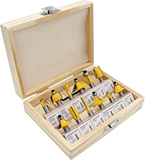 DingGreat Juego de 12 fresas con punta de carburo, vástago de 8 mm para carpintería, fresadora herramientas eléctricas par...