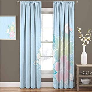 GUUVOR Flower Wear-Resistant Color Curtain Bouquet of Hibiscus Flowers on Vertical Lined Background Soft Colored Print Waterproof Fabric Curtain 42