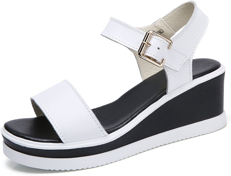 GIY Womens Platform Wedge Sandals Adjustable Buckle Strap Open Toe Slide On Ankle Strap Summer shoes