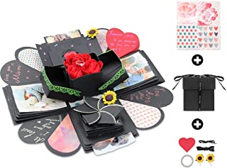 Kicpot Creative Explosion Gift Box, Love Memory DIY Photo Album as Birthday Gift and Surprise Box About Love Opend with 14''x14''(Black)