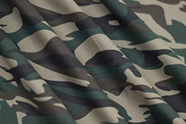 Fabric Merchants Cotton Twill Camouflage Fabric by The Yard, Taupe/Hunter Green/Black 5 Yards