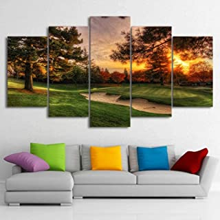 TYUIOP Modular Picture Wall Art Canvas HD Prints Poster 5 Pieces Golf Course Trees Sunset Landscape Oil Painting Home Deco...