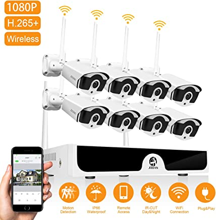 JOOAN 1080P Wireless Security Camera System,JOOAN 8×2MP Full HD Home Surveillance Outdoor WiFi CCTV Cameras with 8 Channel H.265+ NVR & Motion Detection & Email Alarm&Super Night Vision(2019New)