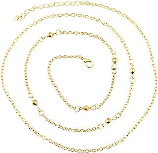 Summer Gold Bikini Belly Body Waist Layer Link Chain with Golden 5mm Beads