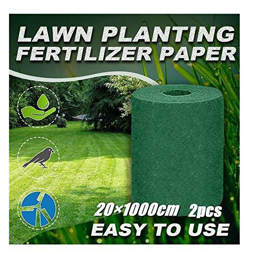 99native@ Rouleau de Tapis de semences de Gazon d'herbe biodégradable Tapis de graines de Gazon Semer des graines Engrais Gazon Artificiel Jardin extérieur Pique-Nique Ombrage Hydratant 10×0.2m (2X)