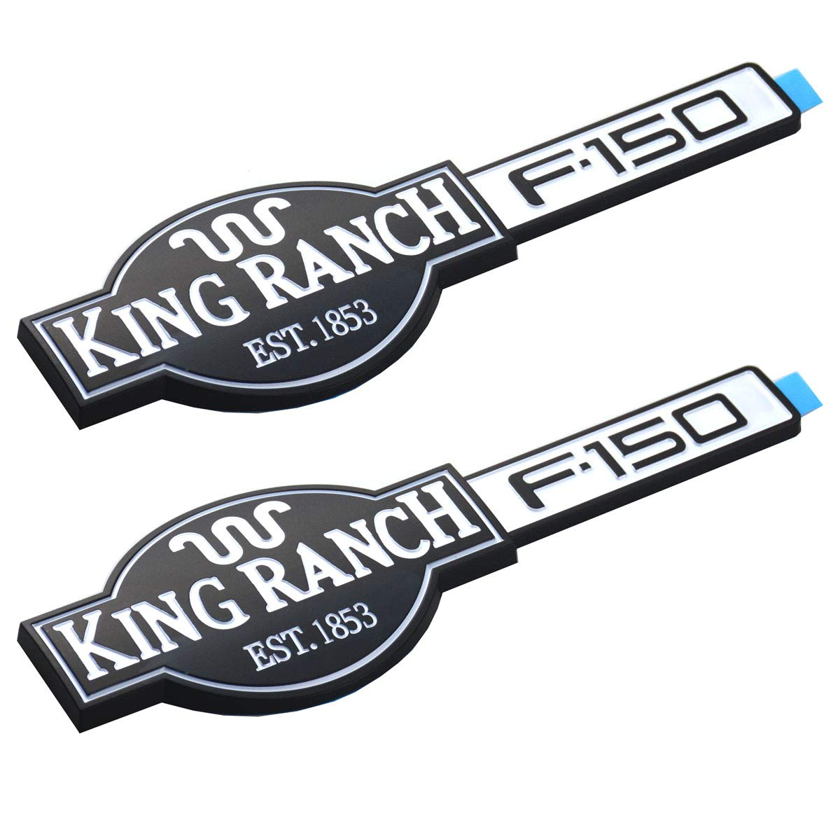Two Pcs King Ranch F150 3D Adhesive Emblems Badges Door Tailgate Compatible with F-150 Chrome