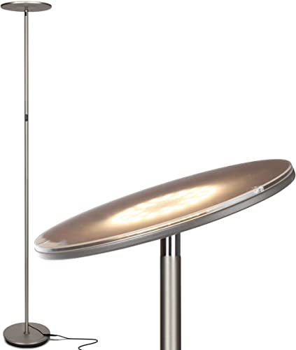 Brightech Sky LED Torchiere Super Bright Floor Lamp - Contemporary, High Lumen Light for Living Rooms & Offices - Dim...